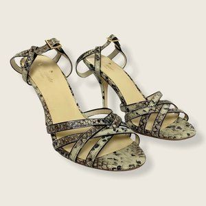 Kate Spade Strappy Faux Snakeskin Heeled Sandals